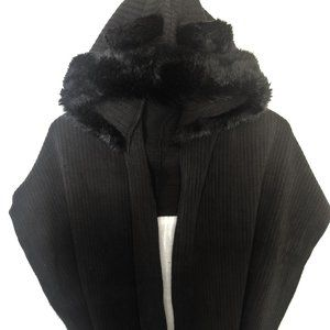 GUESS black faux fur scarf w/ animal ear hood